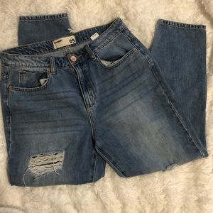Garage Light Wash Heavily Distressed Mom Jeans 9